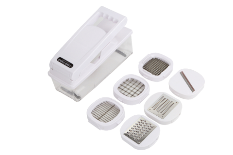 vegetable chopper with interchangeable modules for potato slicer, french fry cutter, vidalia dicer, and mandolin slicer